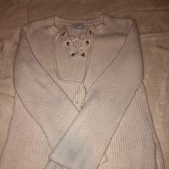 Old Navy Sweaters - White Knitted Pull Tie Sweater